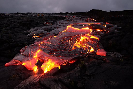 Keaau, HI: Lava by night