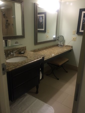 Extra long vanity next to single sink, lovely granite counter tops ...