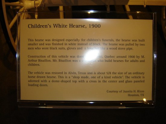 Child's White Hearse - Picture of National Museum of Funeral