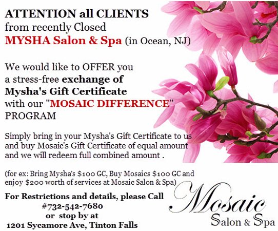Ocean, Нью-Джерси: Mysha day spa and salon former clients are welcome at Mosaic Salon and Spa in Tinton Falls, NJ