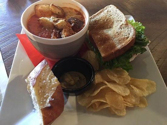 Jeffersonville, IN: Tomato basil soup and 1/2 a club.