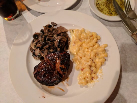 The Bistro of Green : 8 Oz. Filet Mignon, Side of sauteed mushrooms and Mac & Cheese w/ Bacon