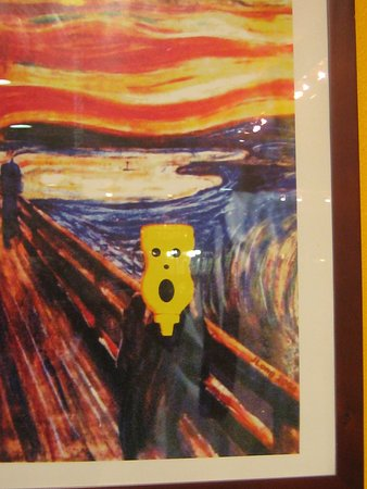 "Middleton, WI: Munch's ""Scream"" painting with head redone as mustard bottle"
