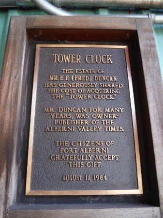 Port Alberni, Canada: TOWER CLOCK DEDICATION