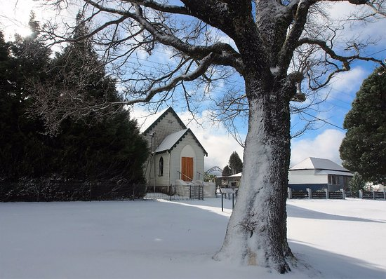 Waratah, Australia: St James Church Gallery & History Centre in the snow