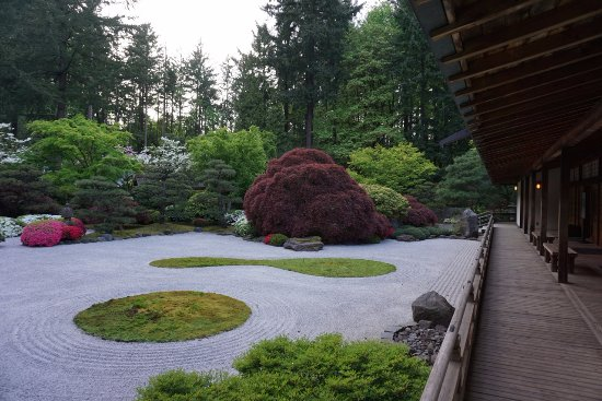 Portland Japanese Garden: Zen Garden. Exhibit Building To The Right