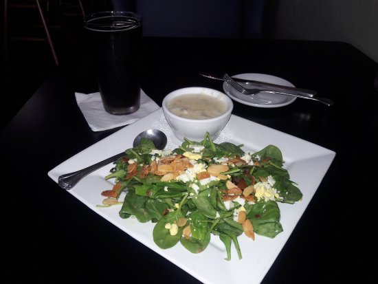 Cottage Grove, OR: Warm organic spinach salad, bacon, sliced blanched almonds, perfect dressing of honey mustard. E