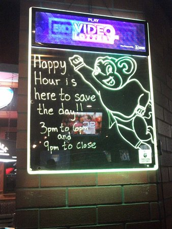 Gresham, OR: Mighty Mouth Happy Hour sign by bar