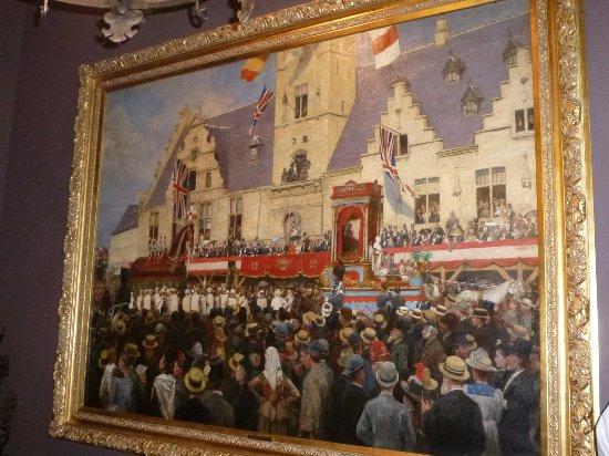 Schilderij betreffende het ros beiaard. picture of cloth hall