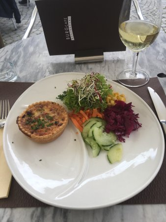 Burgcafe: The quiche Lorraine with salad. A bit small looking! Scrummy though. Another benefit the French