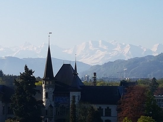 BELLEVUE PALACE Bern: view from room - Alps zoomed on