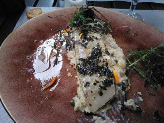 Le Subdray, فرنسا: lieu noir risotto de polenta champignons sauce feuille de nori