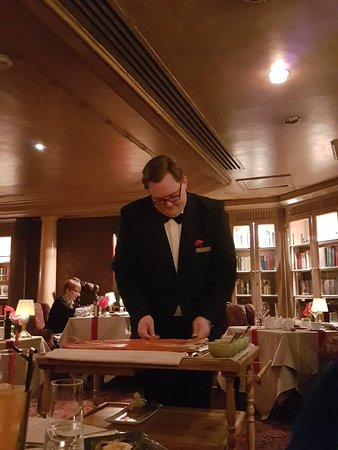 The Library : Paul at our table with the Grilled Dover Sole