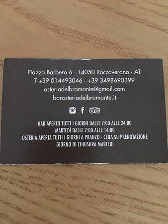 Roccaverano, Italia: biglietto da visita