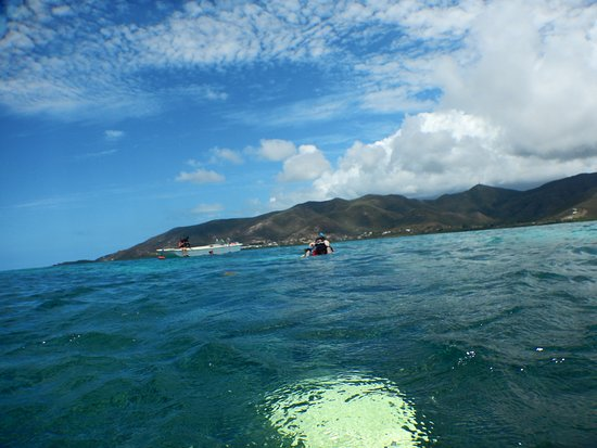 Cades Bay, Antigua: view from water of small boat we took