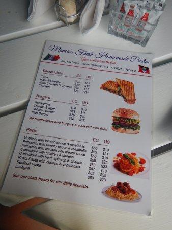 Long Bay, แอนติกา: menu