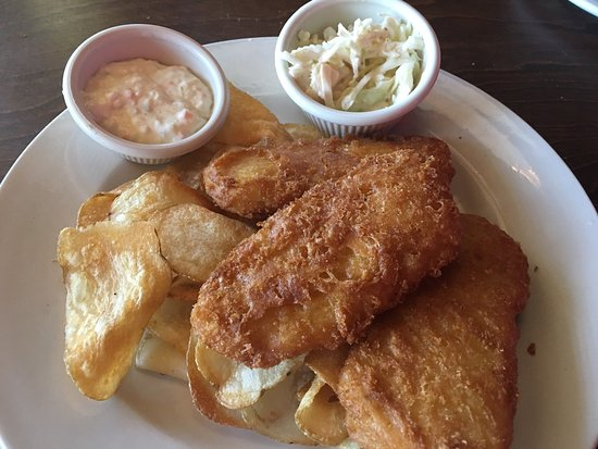 Clarksville, IN: Beer battered fish was good. Coleslaw was awful. Price was too high for a small portion.