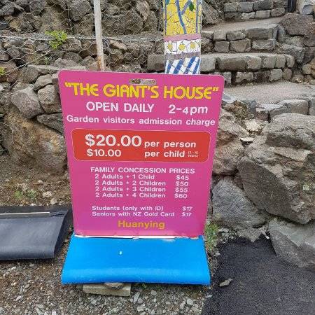 The Giant's House: Pricing board and opening hours