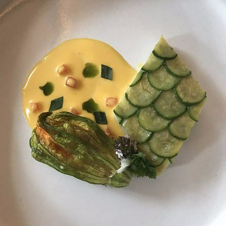 Eleven Madison Park: Turbot with zucchini flower
