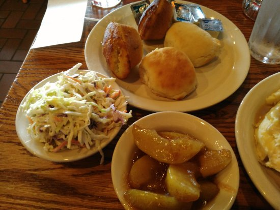 Belleville, MI: Great Side Dishes - Fresh coleslaw, fried apples, biscuit and corn muffin.