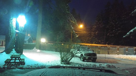 Malahat Bungalows Motel: out the front door, highway on right - nice picnic table for summer
