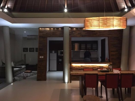 The Kasih Villas And Spa Living Room Beside Kitchen With Movie Box
