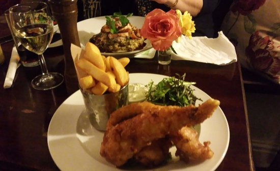 Bruton, UK: Fish & Chips (Medium Portion) with Minted Pea Puree, Thick Cut Chips