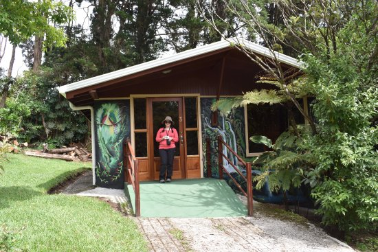 Cerro Plano, Costa Rica: Our cabin with my wife in front of it.