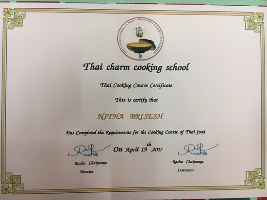 Certificate - Picture of Thai Charm Cooking School, Ao Nang ...