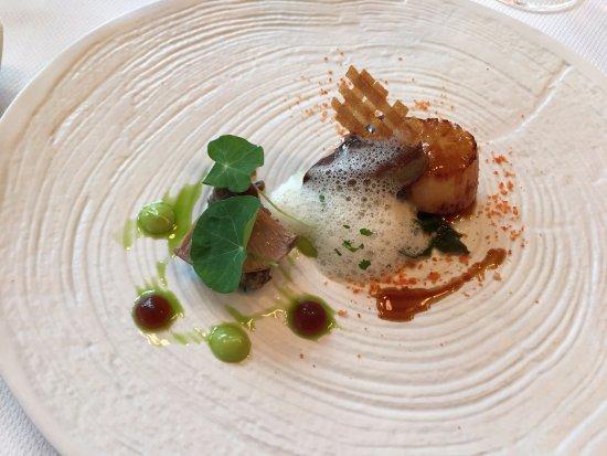 One-O-One Restaurant : Our favourite: Scallops / Duck Foie Gras / Pied Bleu Mushroom / Sea-Spinach / Vermouth / Jus Gra
