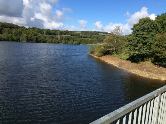 Bolton, UK: View from the iron bridge at the top of the reservoir
