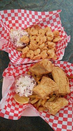 Freeport, ME: 1/2 Pound Shrimp Basket and Haddock Basket both served with fries & Slaw