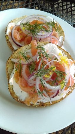 Comfort, TX : Smoked salmon on seeded bagel