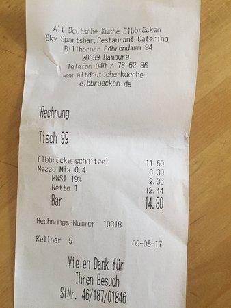 Rechnung Picture Of Old German Kitchen Hamburg Tripadvisor