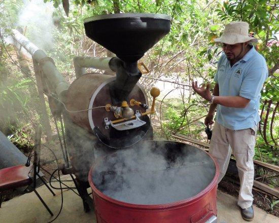 El Toledo Coffee Tour: Demonstration on coffee bean roasting.