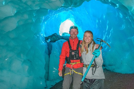 Southern Alps Guiding: Meg and our guide Ant in a Glacier Cave!