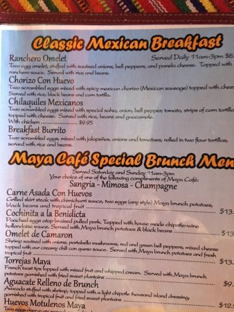 Cafe Maya Fishkill Ny Menu
