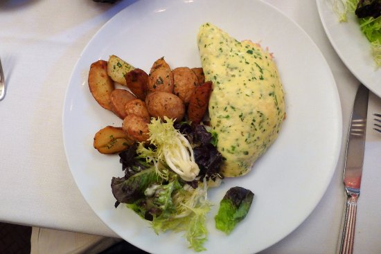 """Cafe Boulud : Vermont Egg Omelette """"Aux Fines Herbes"""" (gruyère cheese, roasted potatoes market greens w/ham)"""