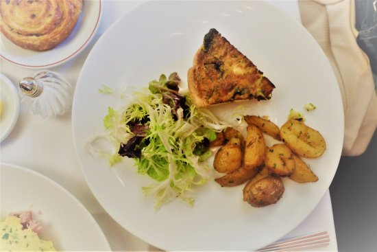 Cafe Boulud : Wild Mushroom Quiche (arrowleaf spinach, goat cheese, chives market greens, roasted potatoes)