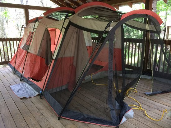 Royston, Georgien: Platform camping - don't need a fly