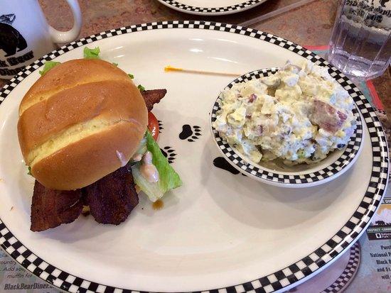 Cottonwood, AZ: Bacon Cheddar Burger with potato salad