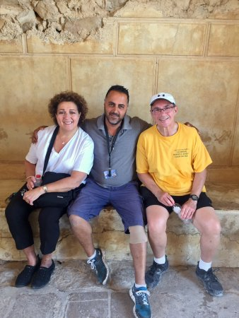 Rent a Guide Israel Tours: At the top of Masada with Meni - our fantastic tour guide! We were so lucky to have him!