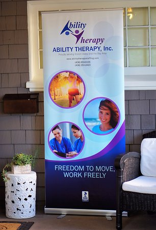 Ability Therapy's welcome banner in the Cowper Inn entrance