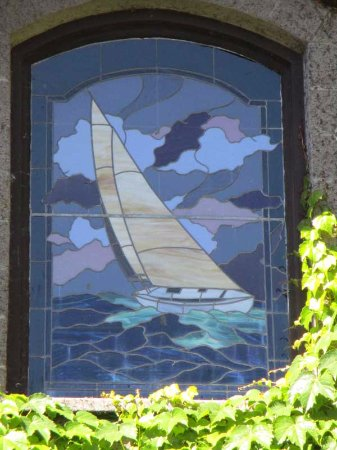 Healdsburg, CA: Closeup of sailboat in stained glass at Dry Creek Winery