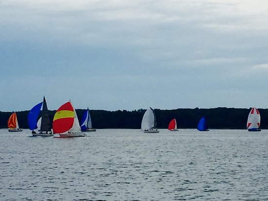 Solomons, MD: The Sailboat races Wednesday and Thursday nights just a short walk away from the Lighthouse eate