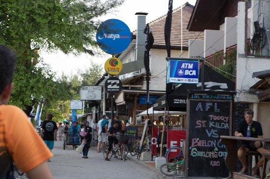 Gili Islands, Indonesia: shops, street at gili, ATM too
