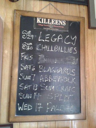 Killeens Pub: programma bands