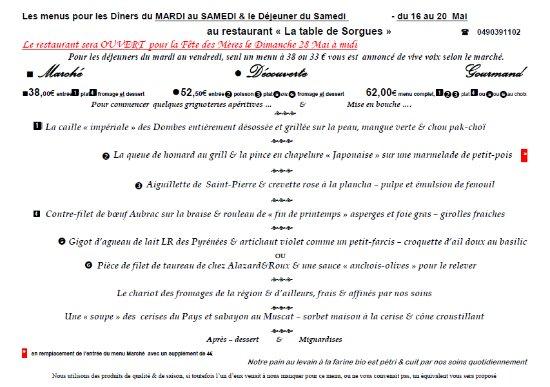Les MENUS de cette SEMAINE du 16 au 20 Mai au restaurant La Table de Sorgues