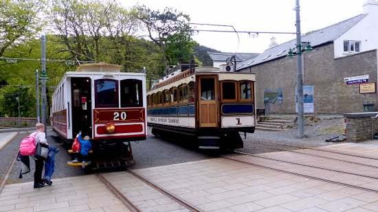 Isle of Man Bus and Rail: Manx Electric and Snaefell Mountain Railway trams at Laxey