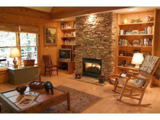 Weaverville, Carolina del Norte: Pinecone's gas fireplace in Living Room